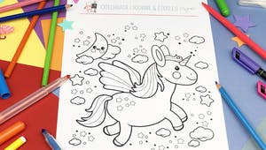 Coloriage Licorne & Étoiles