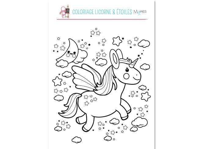 Coloriage Licorne Etoiles Momes Net