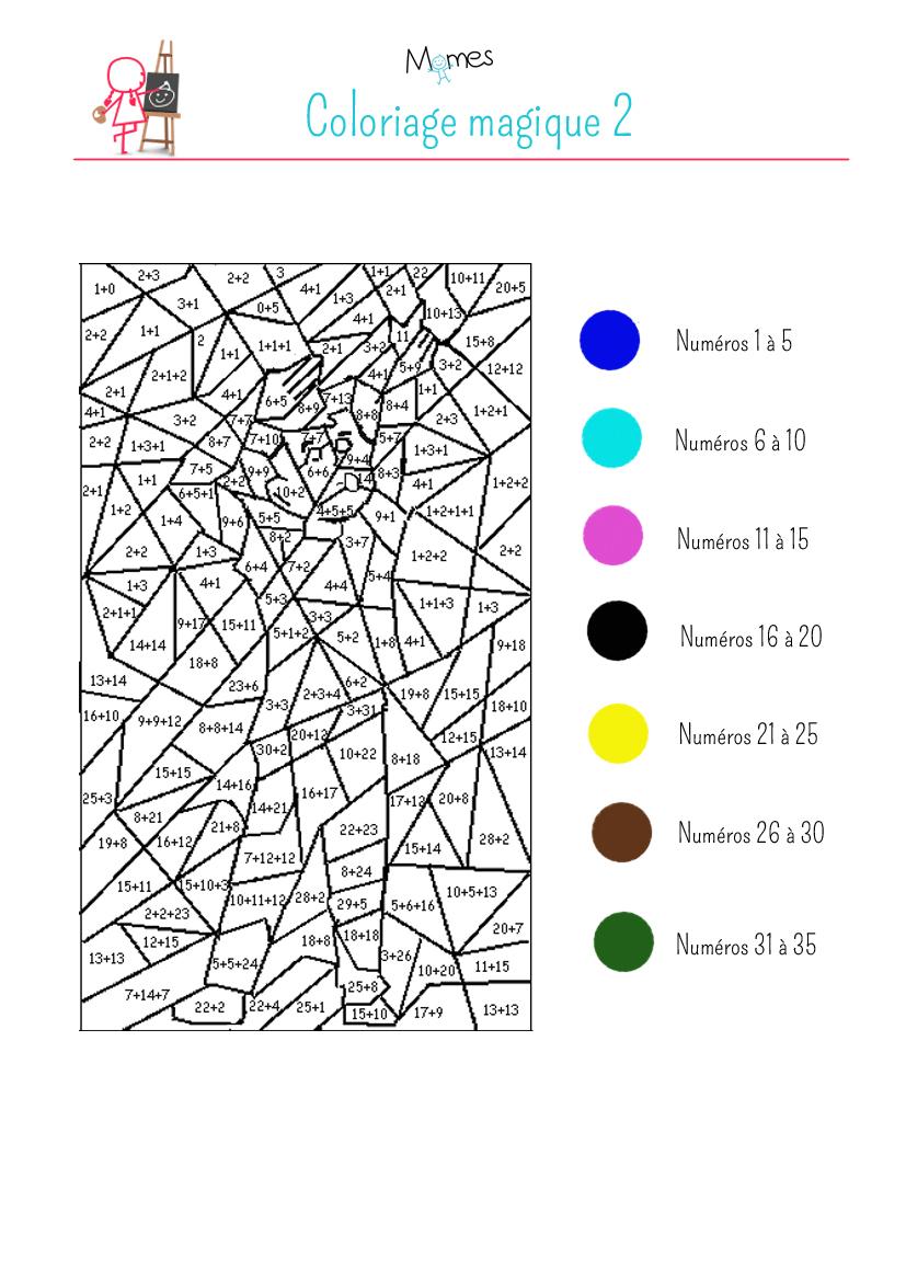 Coloriage magique (2): exercice   MOMES.net