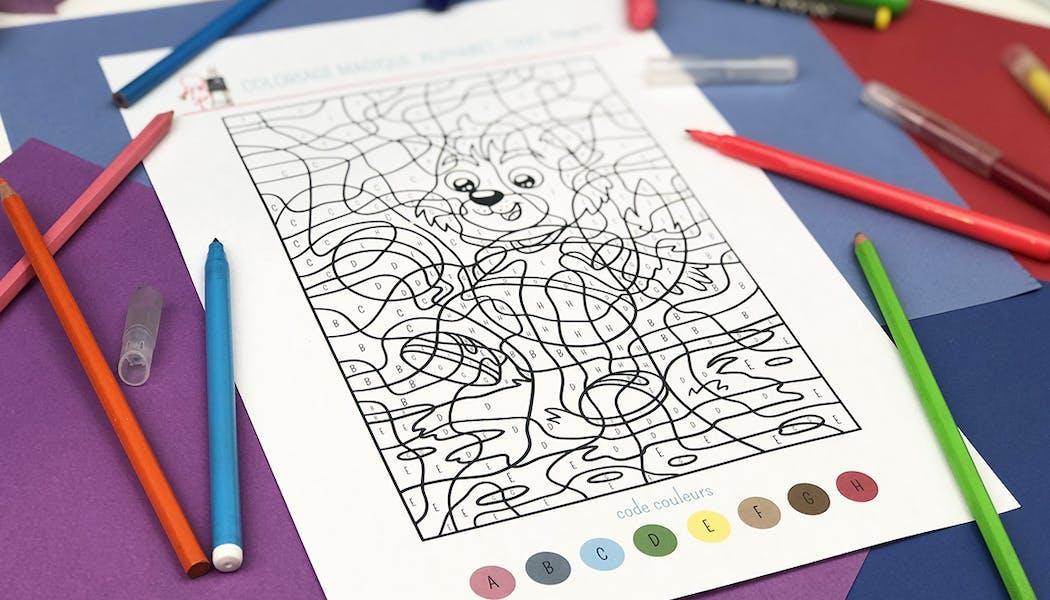 Coloriage magique Alphabet : Chat