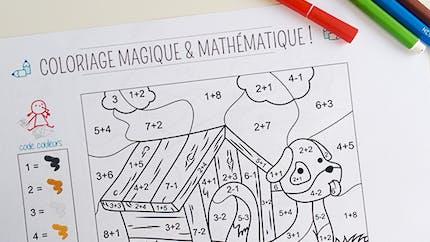 Coloriage magique et mathématique : le chien