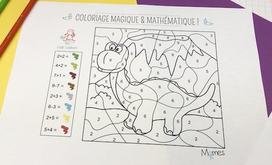 Coloriage magique et mathématique : le dinosaure