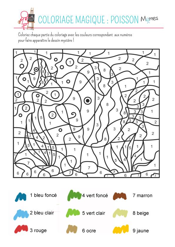 Coloriage Magique Le Poisson Momes Net