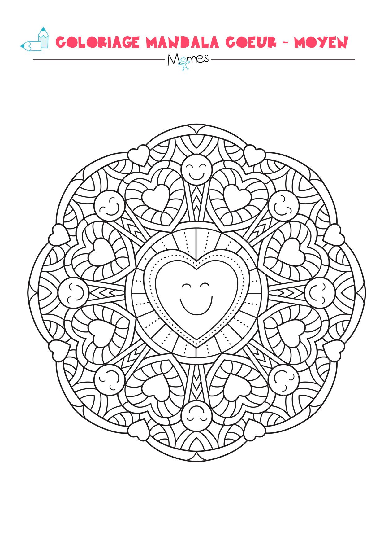 Coloriage mandala coeur - moyen | MOMES.net