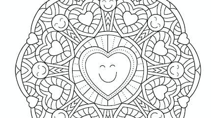 Coloriage mandala coeur - moyen