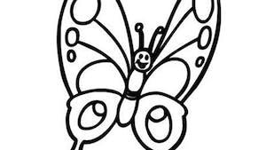 Coloriage papillon souriant