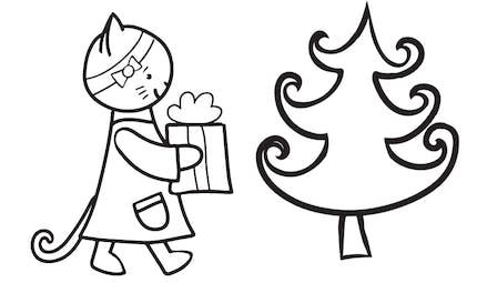 Coloriage petit chaton et le cadeau de Noël