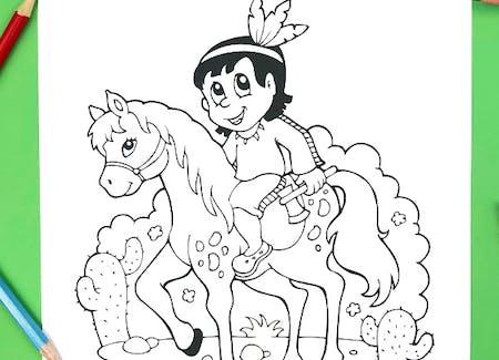 Coloriage petit indien sur son cheval