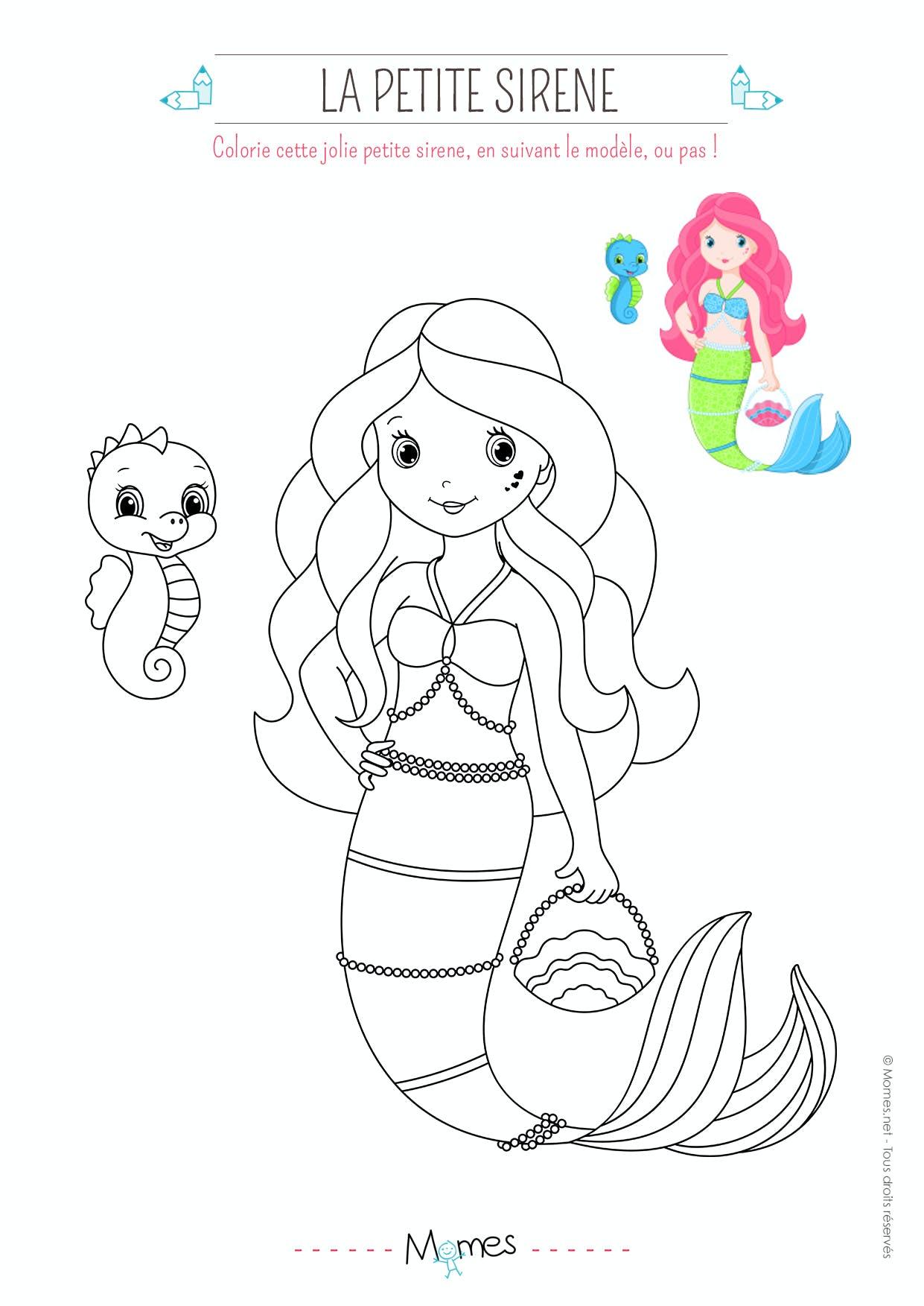 Coloriage Petite Sirene Momes Net