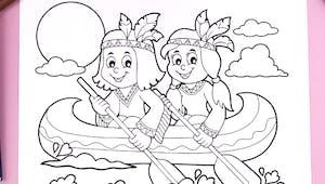 Coloriage petits indiens en canoë