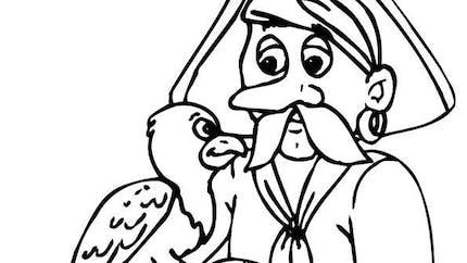Coloriage un pirate et son perroquet