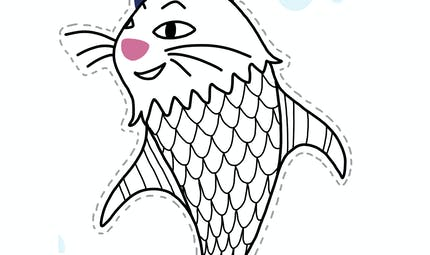 Coloriage poisson d'avril : le poisson chat
