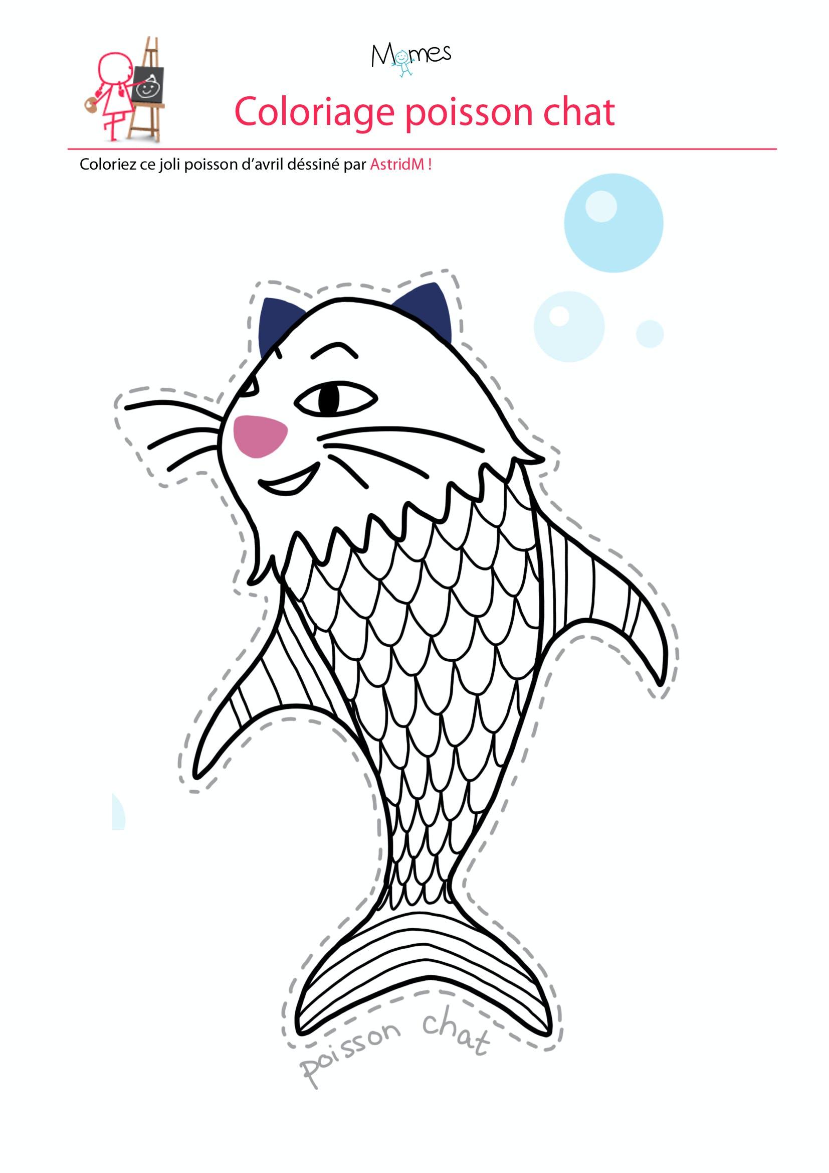 Coloriage poisson d'avril  le poisson chat   MOMES.net