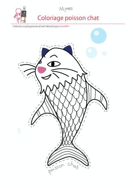 Coloriage poisson d'avril : le poisson chat