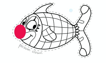 Coloriage poisson d'avril : le poisson clown