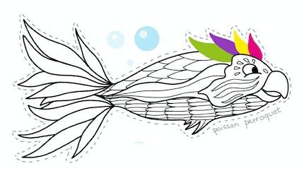 Coloriage poisson d'avril : le poisson perroquet