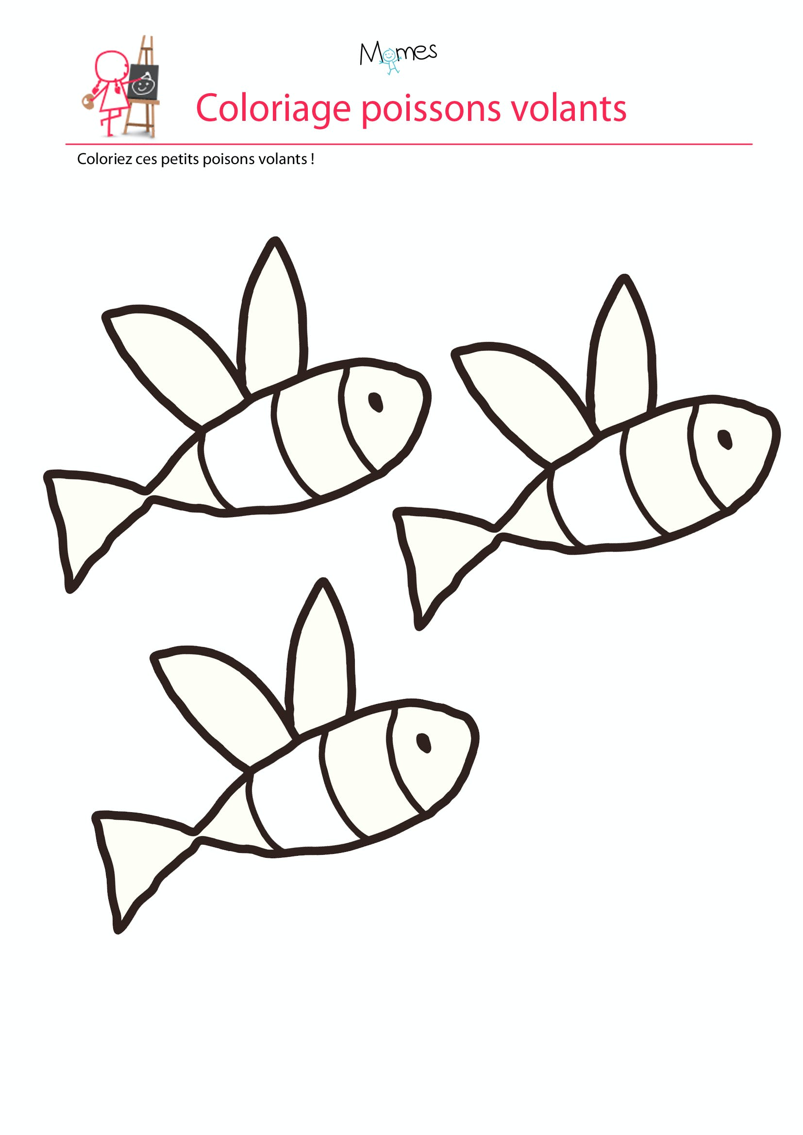 Coloriage poisson d'avril  les poissons volants   MOMES.net