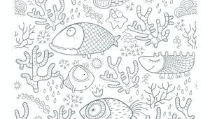 Coloriage poissons dans l'eau