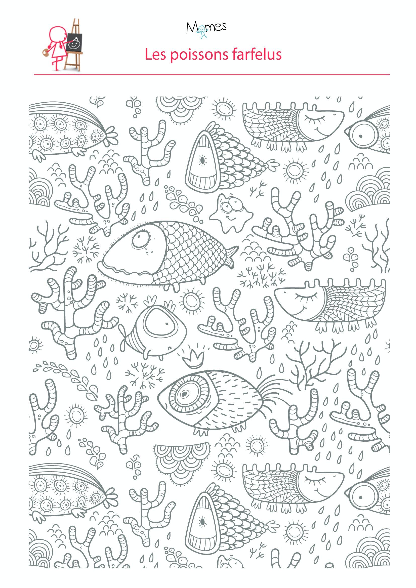 Coloriage poissons dans l'eau   MOMES.net