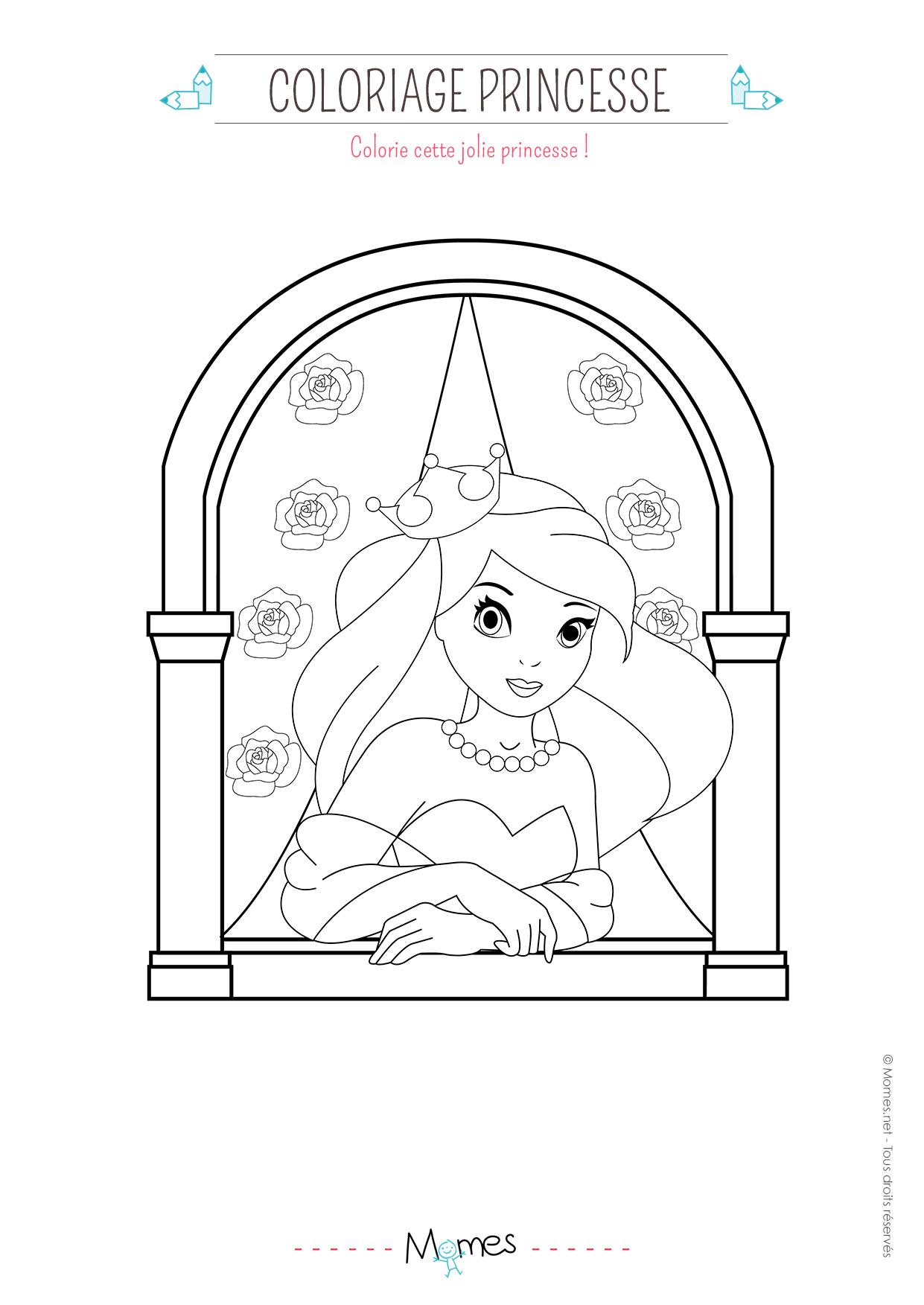 coloriage princesse fleurs   MOMES.net
