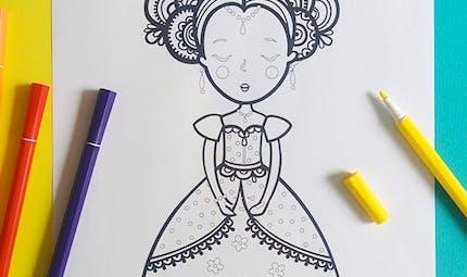 Coloriage princesse indienne