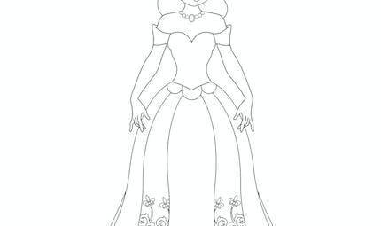 Coloriage princesse longue robe
