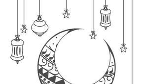 Coloriage Ramadan : la lune et les étoiles