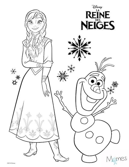 Coloriage Reine des Neiges : Anna et Olaf