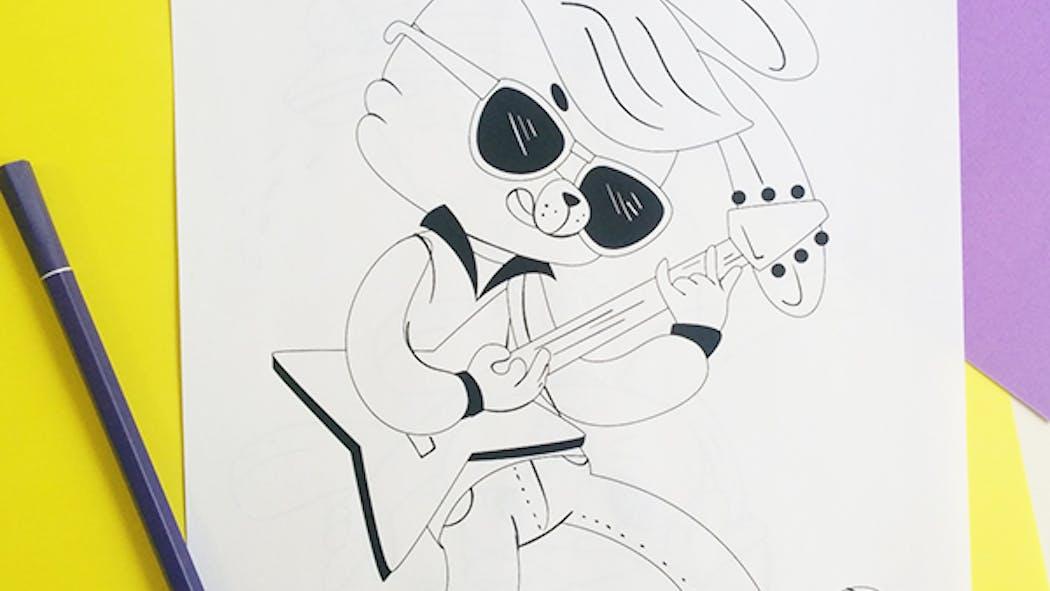 Coloriage Rock'n'roll Bunny