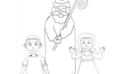 Coloriage Saint Nicolas et les enfants