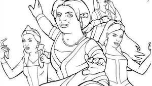 Coloriage Shrek: Fiona et les princesses