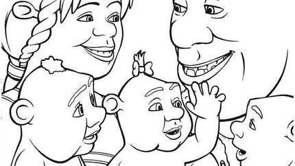 Coloriage Shrek: la famille de Shrek