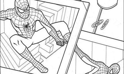 Coloriage Spider-Man dans le journal