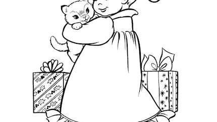 Coloriage un chaton à Noël