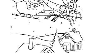 Coloriage village de Noël et Père Noël