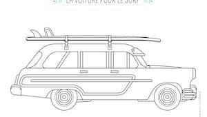 Coloriage La voiture de surfeur