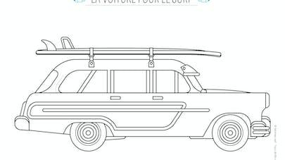 coloriage voiture de surf