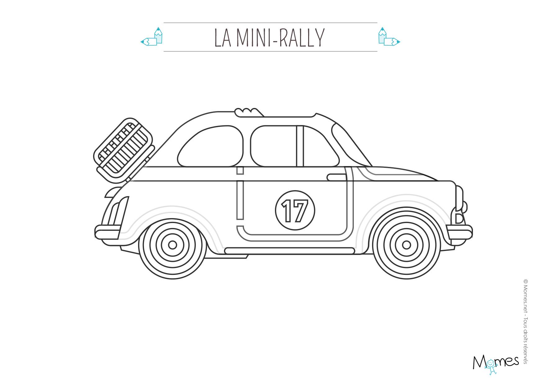 Coloriage La voiture de rallye   MOMES.net