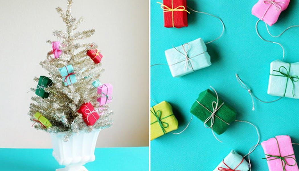 idées décorations Noël rapides simples faciles         dernière minute petits et faux cadeaux décoratifs de         Noël