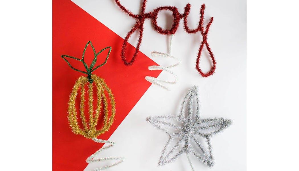 idées décorations Noël rapides simples faciles         dernière minute décoration de Noël avec des         cure-pipes