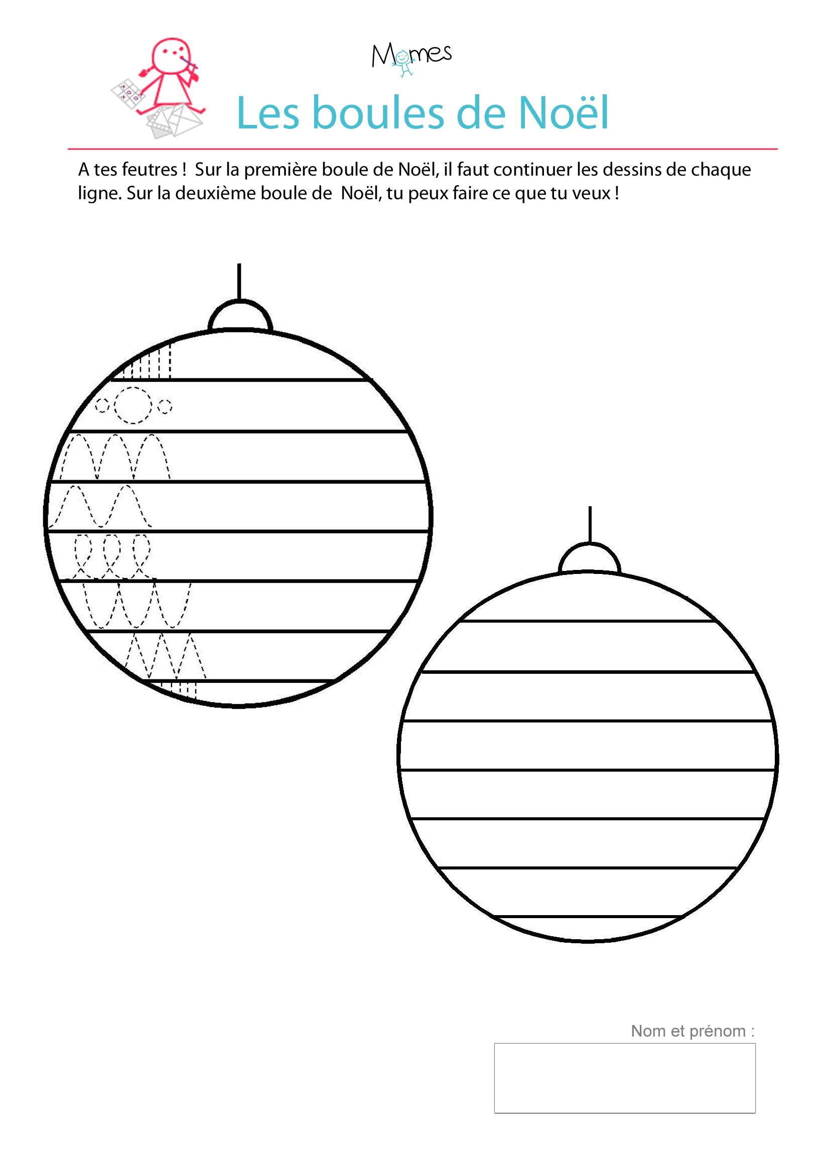Décore les boules de Noël   Exercice de tracé   MOMES.net