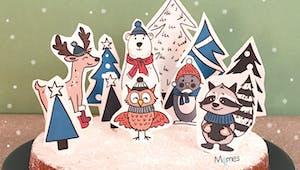 Des animaux des bois pour un joli gâteau de Noël