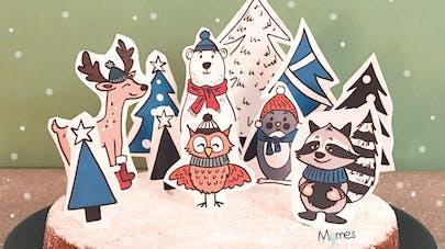 Noël décoration gâteau animaux des bois et sapins
