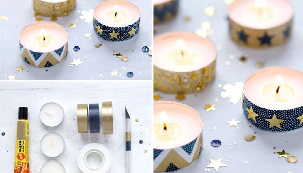 idées décorations Noël rapides simples faciles         dernière minute bougies Masking Tape