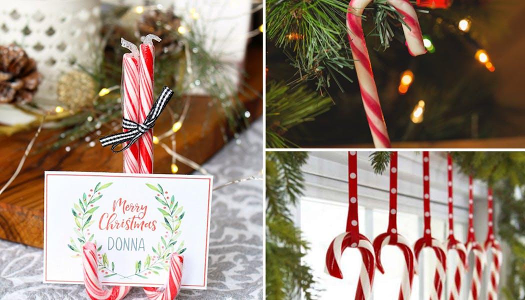 idées décorations Noël rapides simples faciles         dernière minute cannes de sucre d'orge à Noël