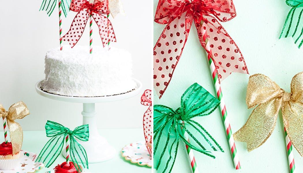 idées décorations Noël rapides simples faciles         dernière minute des décorations de Noël pour un dessert de         Fêtes cake toppers