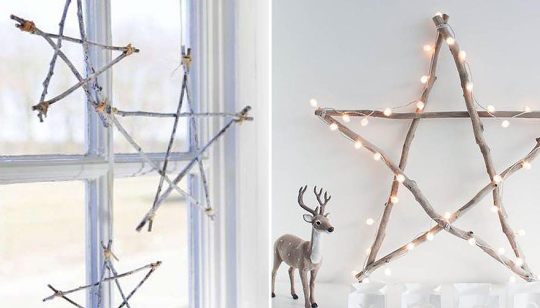 idées décorations Noël rapides simples faciles         dernière minute des étoiles branches
