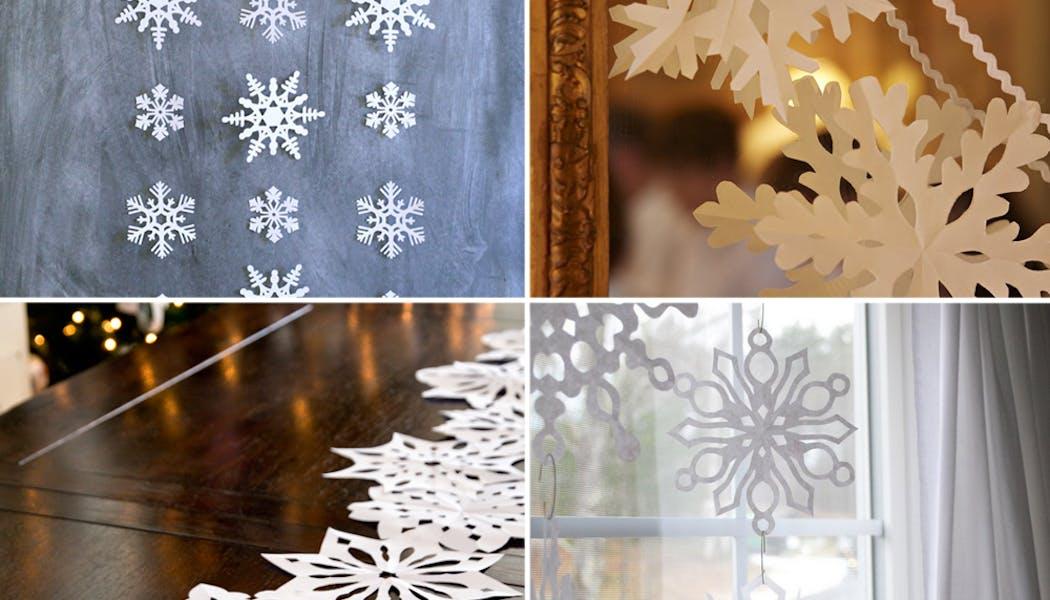 idées décorations Noël rapides simples faciles         dernière minute flocons de neige en papier