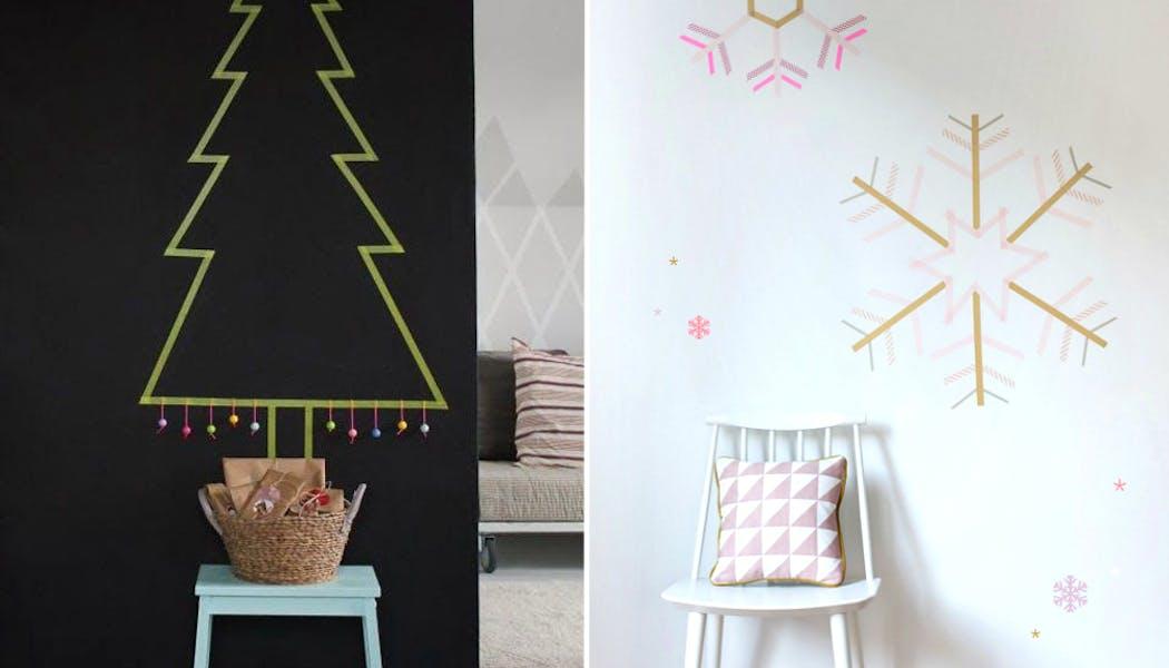 idées décorations Noël rapides simples faciles         dernière minute flocons et sapins en Masking Tape