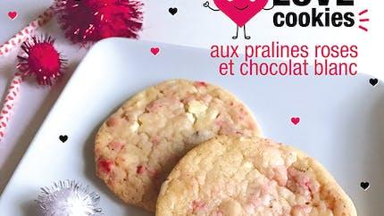Des Love Cookies aux pralines roses et chocolat blanc